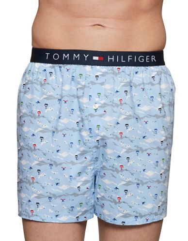 Tommy Hilfiger Mountainside Cotton Boxer Shorts-LIGHT BLUE-Large