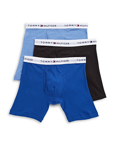 Tommy Hilfiger Three-Pack Cotton Boxer Briefs-INK BLUE-Small