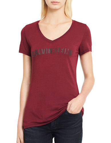 Calvin Klein Jeans Burnout Wash ID Logo Tee-CLASSIC PLUM-Large