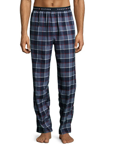 Tommy Hilfiger Plaid Flannel Pyjama Pants-BLUE-Small