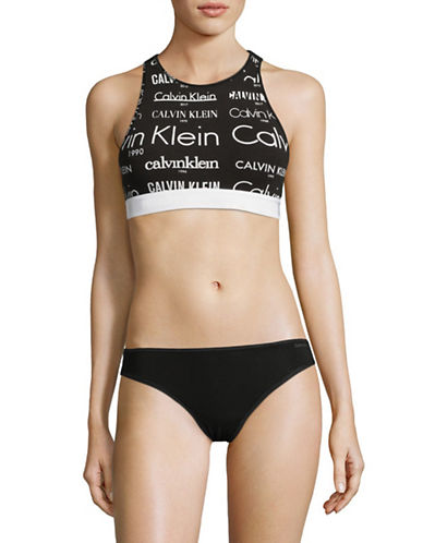 Calvin Klein High Neck Open Back Bralette-BLACK-Large