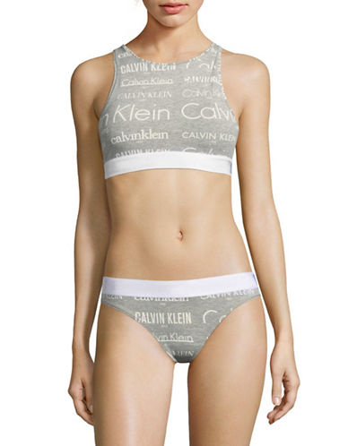 Calvin Klein High Neck Open Back Bralette-GREY-Large