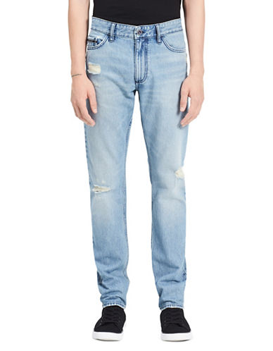 Calvin Klein Jeans Slim Straight Low-Rise Cotton Jeans-BLUE-36