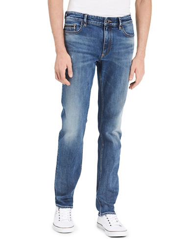 Calvin Klein Jeans Slim Straight Low-Rise Authentic Blue Wash Jeans-BLUE-32
