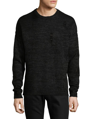 Calvin Klein Jeans Paper Yarn Wool-Blend Distress Pullover-BLACK-Large