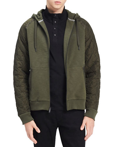Calvin Klein Jeans Quilted Sleeve Cotton Hoodie-GREEN-Medium