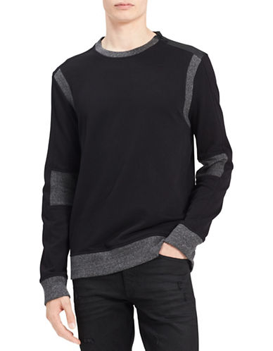 Calvin Klein Jeans Cotton Ribbed Panel Sweatshirt-BLACK-X-Large