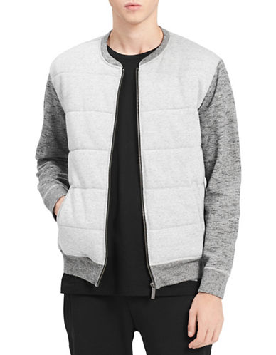 Calvin Klein Jeans Heathered Cotton Bomber Jacket-GREY-Large