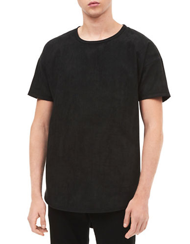 Calvin Klein Jeans Suede Oversized Tee-BLACK-Medium