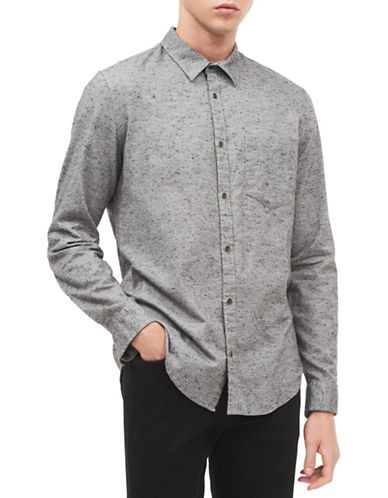 Calvin Klein Jeans Speckled Cotton Sport Shirt-GREY-Large