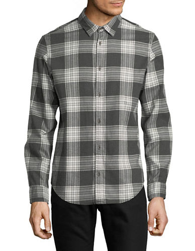 Calvin Klein Jeans Classic-Fit Grindle Vibrating Check Sport Shirt-GREY-Large