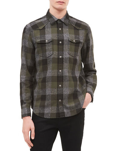 Calvin Klein Jeans Twill Cotton Check Sportshirt-GREEN-Large