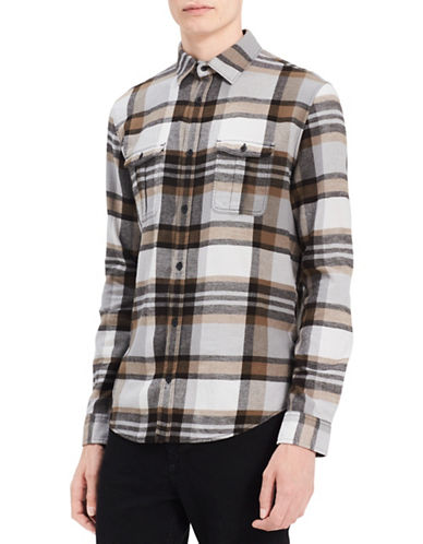 Calvin Klein Jeans Checkered Cotton Sportshirt-BLACK-Large