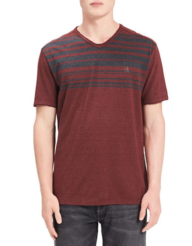 Calvin Klein Jeans Classic V-Neck Cotton Tee-RED-X-Large