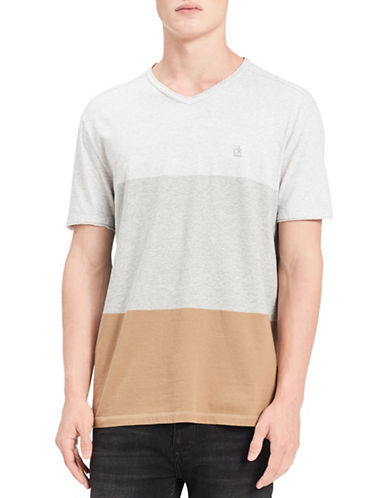 Calvin Klein Jeans Colourblock Cotton Tee-BEIGE-Medium