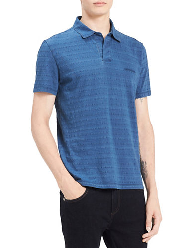 Calvin Klein Jeans Textured Stripe Cotton Polo-BLUE-X-Large