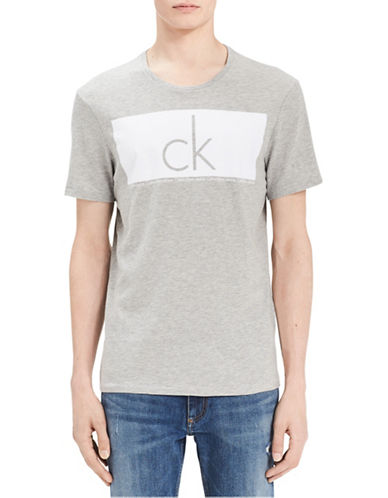 Calvin Klein Jeans Logo Cotton Tee-GREY-Large