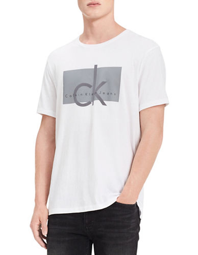 Calvin Klein Jeans Slim-Fit Logo Cotton Tee-WHITE-Large