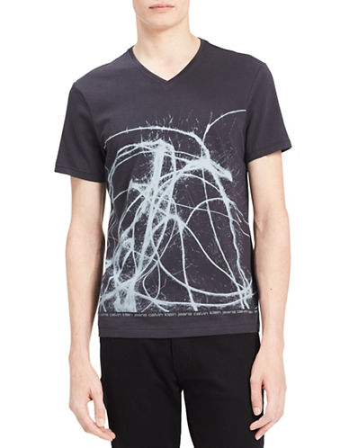 Calvin Klein Jeans Splatter Cotton Tee-GREY-Small