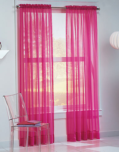 Home Studio Sheer Curtain Panel-PINK-63 inches