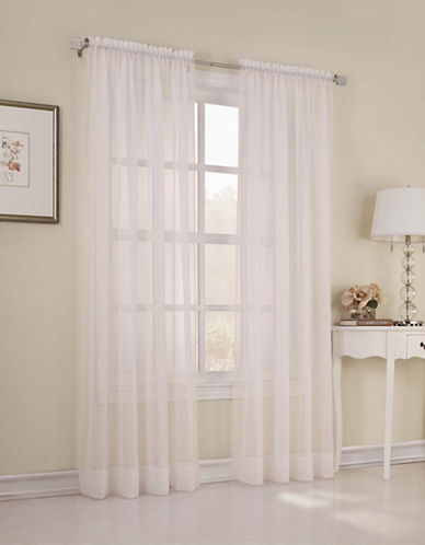 Home Studio Pack of 2 Amy Plain Sheer Window Panel-IVORY-95 inches