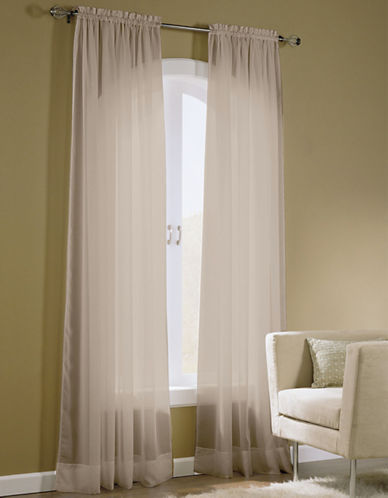 Home Studio Pack of 2 Amy Plain Sheer Window Panel-TAUPE-84 inches