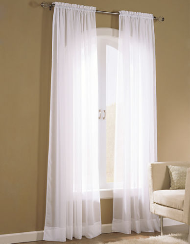 Home Studio Pack of 2 Amy Plain Sheer Window Panel-WHITE-63 inches