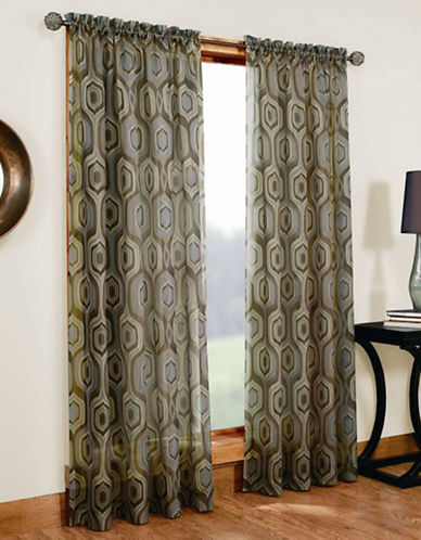 Home Studio Casablanca 84in Printed Sheer Voile-BROWN-84 inches