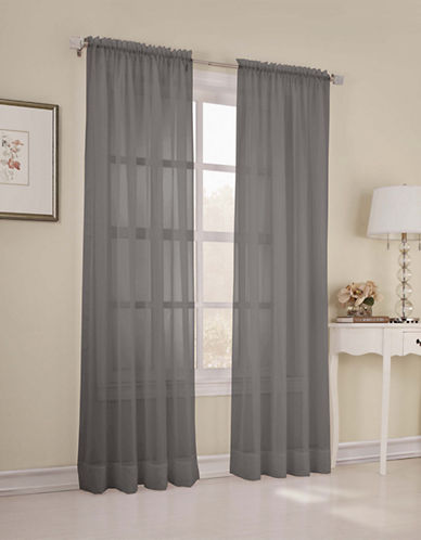 Home Studio Pack of 2 Amy Plain Sheer Window Panel-CHARCOAL-84 inches