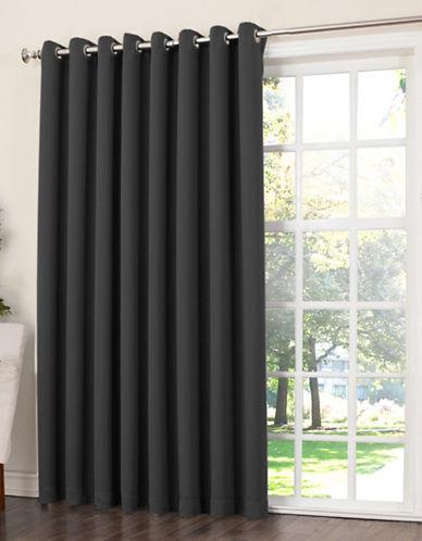 Home Studio Madison 100 Inch Grommet Top Room Darkening Panel-BLACK-One Size