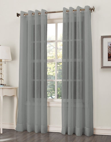 Home Studio Crushed Grommet Voile Window Panels-CHARCOAL-84 inches