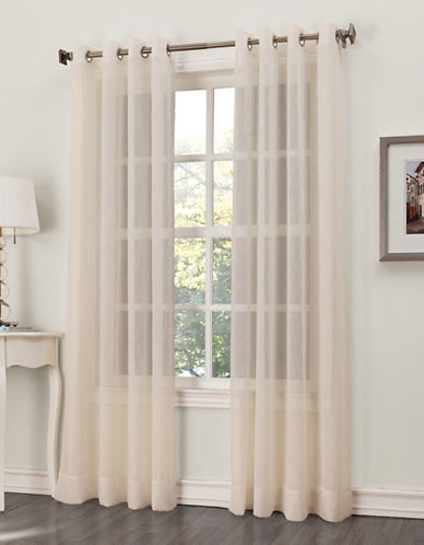Home Studio Crushed Grommet Voile Window Panels-IVORY-96 inches