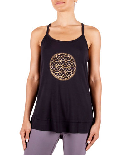 Gaiam Sienna Overlapping Circles Screen Print Tank Top-BLACK-Large 88712800_BLACK_Large