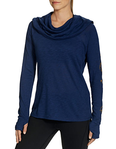 Gaiam Emery Cowl Top-BLUE-X-Small