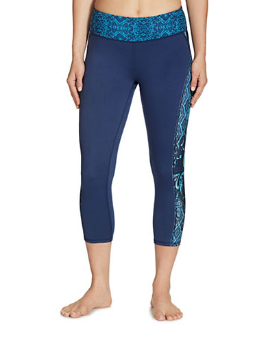 Gaiam Print Luxe Yoga Capris-BLUE-Medium