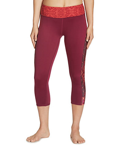Gaiam Print Luxe Yoga Capris-PURPLE-X-Small