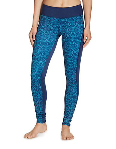 Gaiam Luxe Yoga Printed Leggings-BLUE-X-Small