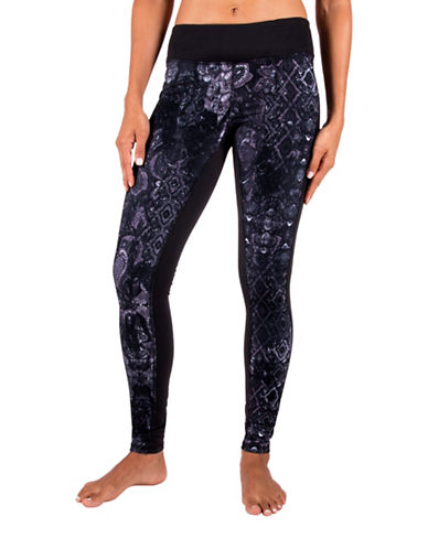 Gaiam Luxe Yoga Printed Leggings-BLACK-Small 88712888_BLACK_Small