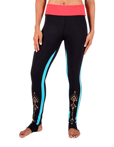 Gaiam Avalon Fold-Over Leggings-BLACK-Medium