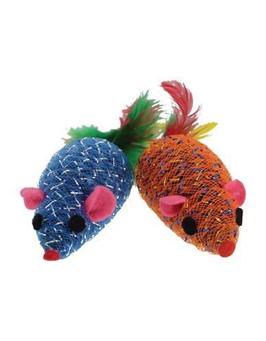 Penn Plax Two-Pack Glitter Mouse Cat Toy-ASSORTED-One Size