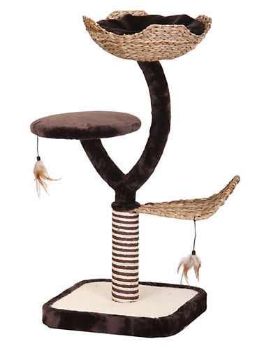 Penn Plax Three Level Cat Scratching Post and Nest-BROWN-One Size
