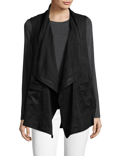 Jones New York Faux Suede Draped Vest-BLACK-Large