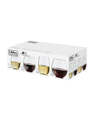 Libbey Eight Piece Assorted Stemless Set-CLEAR-One Size