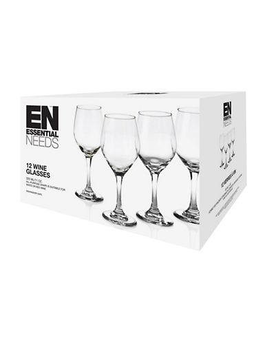 Essential Needs 12-Piece Wine Glass Set-CLEAR-One Size
