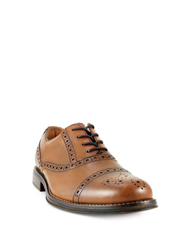 Dockers Piedmont Wing Tip Leather Oxfords-COGNAC-12