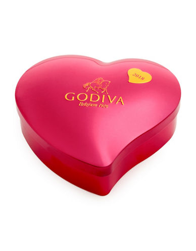 Godiva 12-Piece Valentines Day Heart Tin Box-RED-One Size