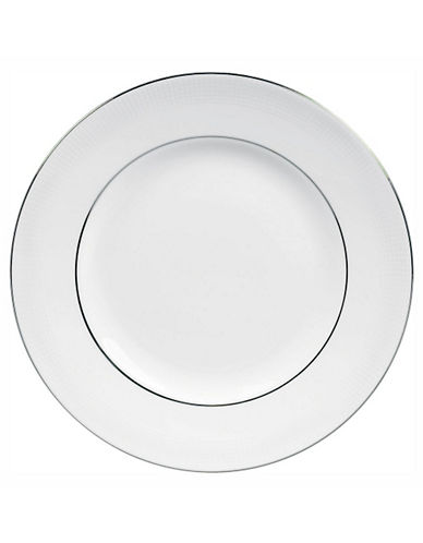 Vera Wang Blanc Sur Blanc Dinner Plate-WHITE WITH PLATINUM TRIM-One Size