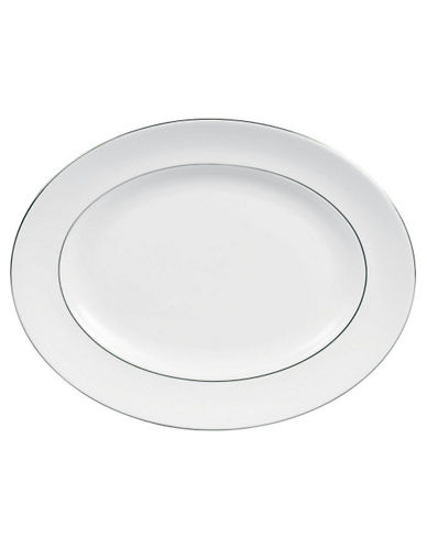 Vera Wang Blanc Sur Blanc Oval Platter-WHITE WITH PLATINUM TRIM-One Size