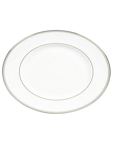Vera Wang Grosgrain Oval Platter-WHITE/PLATINUM-One Size