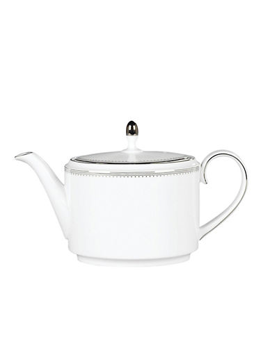 Vera Wang Grosgrain Teapot-WHITE/PLATINUM-One Size